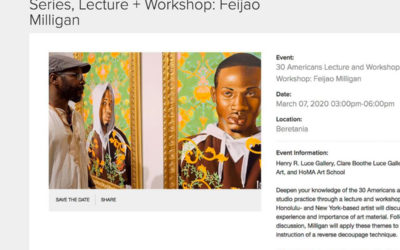 Guest artist for HoMA's 30 Americans Lecture & Workshop series